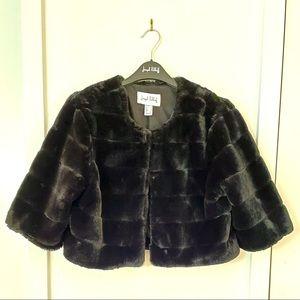 Black Faux Fur Cropped Bolero size 8